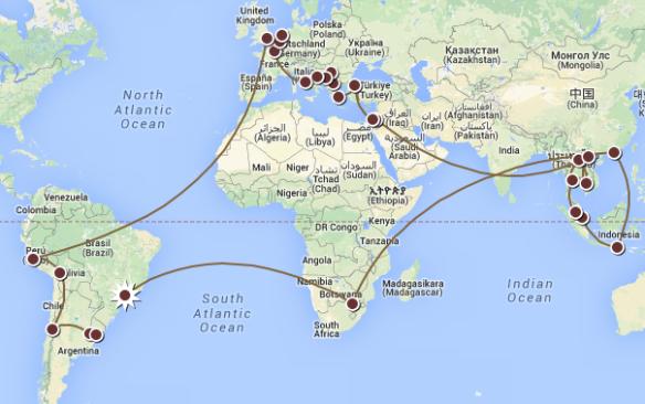 Mapa do Nosso Roteiro de Volta ao Mundo